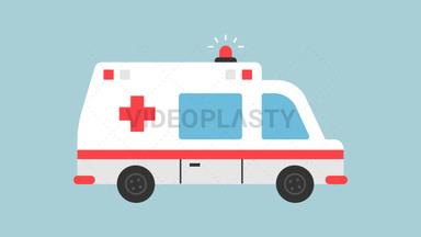 Ambulance Flat Icon ANIMATION