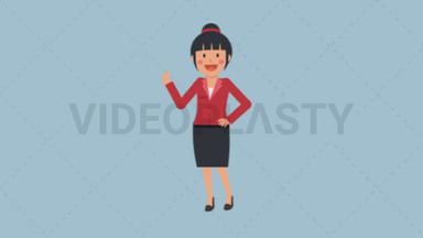 Asian Corporate Woman Approving ANIMATION