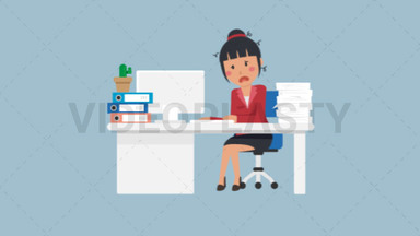 Asian Corporate Woman Being Stressed at Work ANIMATION