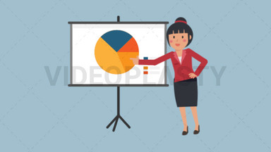 Asian Corporate Woman Giving Presentation ANIMATION