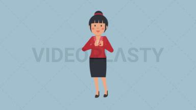 Asian Corporate Woman Interpreting Using Sign Language ANIMATION