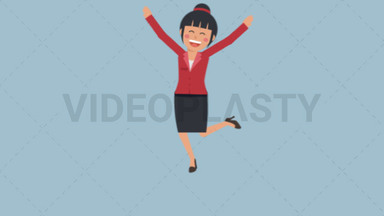 Asian Corporate Woman Jumping for Joy ANIMATION