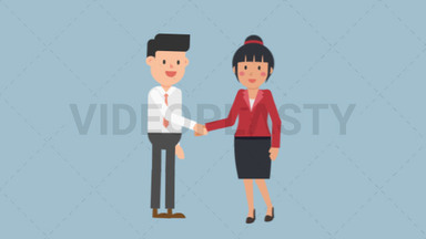 Asian Corporate Woman Shaking Hand ANIMATION