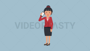 Asian Corporate Woman Talking on the Phone ANIMATION