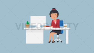 Asian Corporate Woman Working at her Desk ANIMATION