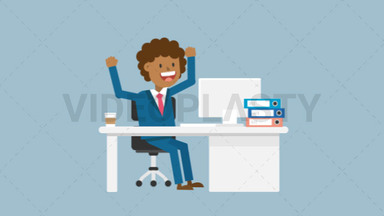 Black Corporate Man Happy With His Work ANIMATION