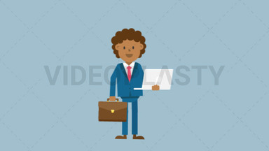 Black Corporate Man Holding a Laptop and Suitcase ANIMATION