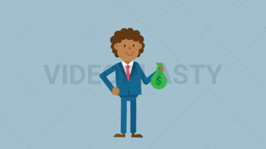 Black Corporate Man Holding a Sack of Money ANIMATION