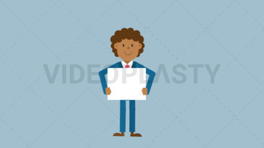 Black Corporate Man Holding a Whiteboard ANIMATION
