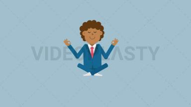 Black Corporate Man Meditating ANIMATION