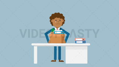Black Corporate Man Packing His Things ANIMATION