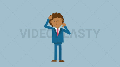 Black Corporate Man Scratching His Head Thinking ANIMATION