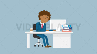 Black Corporate Man Serious at Work ANIMATION