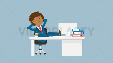 Black Corporate Man Sleeping at Work ANIMATION