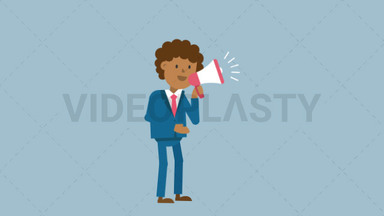Black Corporate Man Using a Megaphone ANIMATION