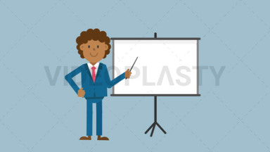 Black Corporate Man Using the Projector Screen ANIMATION