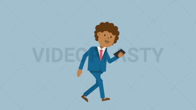Black Corporate Man Walking Looking at His Cellphone ANIMATION
