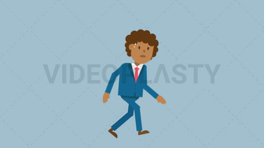 Black Corporate Man Walking Tired ANIMATION