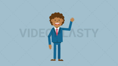 Black Corporate Man Waving His Hand ANIMATION
