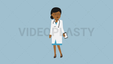 Black Female Doctor Talking on the Phone ANIMATION