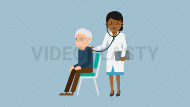 Black Female Doctor with Patient Checkup ANIMATION