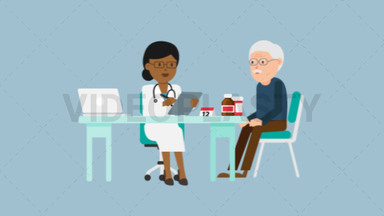 Black Female Doctor with Patient Consultation ANIMATION