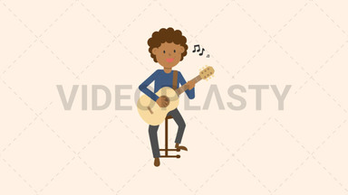 Black Man Playing Guitar Sitting ANIMATION