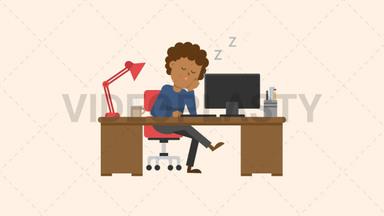 Black Man Sleeping at his Desk ANIMATION