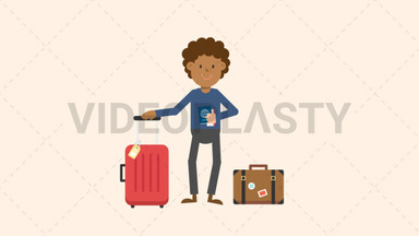 Black Man Traveling with Luggage ANIMATION