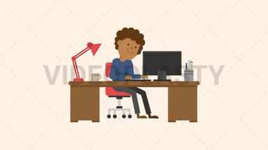 Black Man Working at his Desk ANIMATION