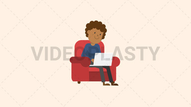 Black Man Working at his Laptop on the Couch ANIMATION