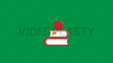 Books with Apple Flat Icon ANIMATION