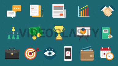 Business Pack 16 Flat Icons ANIMATION