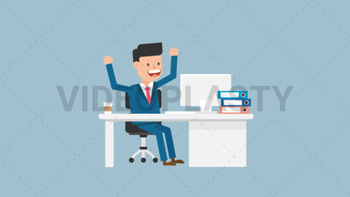 Corporate Man Happy With His Work ANIMATION