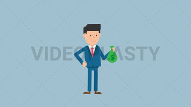 Corporate Man Holding a Sack of Money ANIMATION