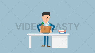 Corporate Man Packing His Things ANIMATION