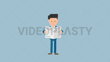Corporate Man Reading a Newspaper ANIMATION