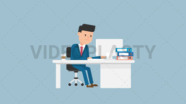 Corporate Man Serious at Work ANIMATION