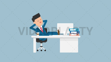 Corporate Man Sleeping at Work ANIMATION