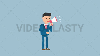 Corporate Man Using a Megaphone ANIMATION