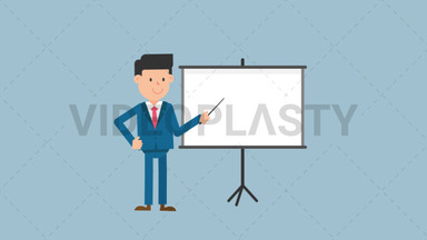 Corporate Man Using the Projector Screen ANIMATION