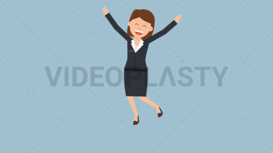 Corporate Woman Jumping for Joy ANIMATION