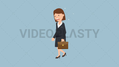 Corporate Woman Running Late ANIMATION