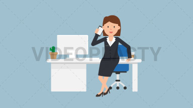 Corporate Woman Talking on the Phone ANIMATION
