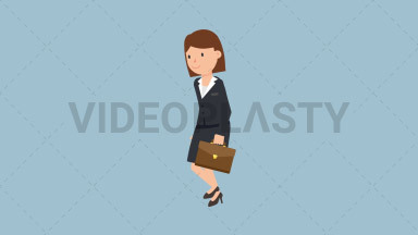 Corporate Woman Walking With Suitcase ANIMATION