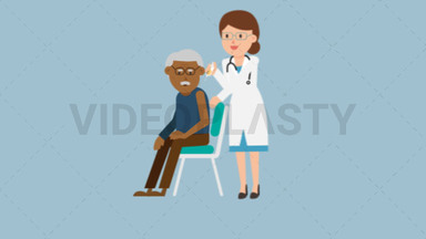 Doctor Giving Injection to Black Patient ANIMATION