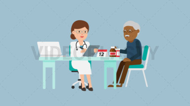 Doctor with Black Patient Consultation ANIMATION