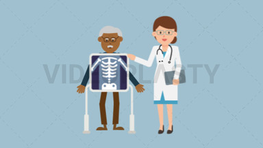 Doctor with Black Patient Xray ANIMATION