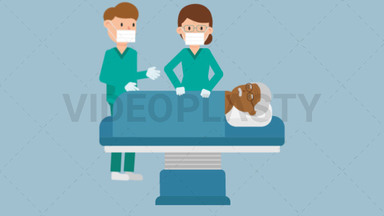 Doctors with Black Patient Operation ANIMATION