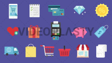 eCommerce Pack 16 Flat Icons ANIMATION